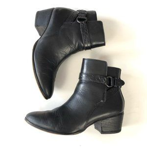 Coach black leather booties buckle boots